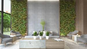 nature inspired living room living room gray chairs concrete and green wall nature inspired