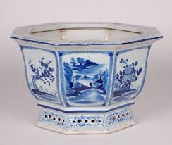 chinese oriental blue and white porcelain octagonal planter