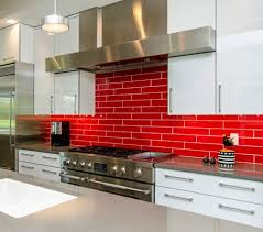 Red Kitchen With White Cabinets Photo Of Red Red Tiled Splashback Kitchen With White Kitchen
