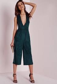 teal jumpsuit faux suede culotte jumpsuit teal missguided