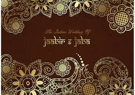 Indian Wedding Invitations Chicago Wedding Card Design Ornamental Golden Floral Vector Decoration