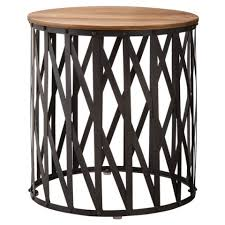round wood and metal side table threshold round metal lattice accent table with wood top