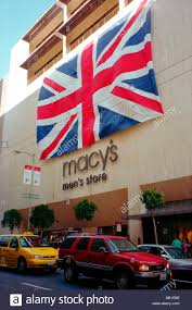 Flag Store Massive Union Jack Flag On The Outside Of Macys Mens Store In San