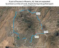 Phoenix Road Map by A Pair Of Houses In Phoenix Az That Are Separated By Almost 17