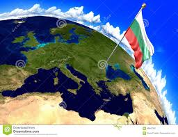 Bulgaria On World Map by Bulgaria National Flag Marking The Country Location On World Map