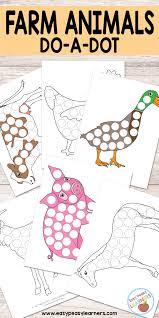 free farm animals do a dot printables easy peasy learners
