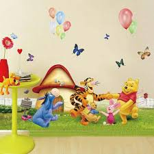 Winnie The Pooh Home Decor by Large Winnie The Pooh And Friends Dancing On The Grass Cartoon