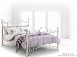 double metal bed frame vintage bedroom furniture white bedstead