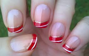 life world women easy gradient red french tip nails for holidays