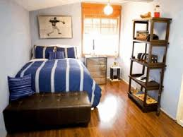 arranging small bedroom platform bed with end cabinet brown fabric