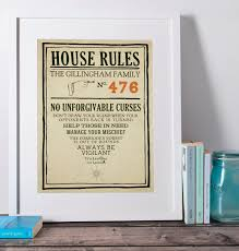 Family House Rules by Harry Potter Personalised House Rules Poster Print Hogwarts