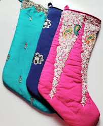 sale sari stocking purple pink christmas tree holiday indian