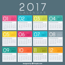 colored 2017 calendar template vector free download