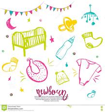 newborn baby necessities newborn baby necessities set in colorful style with