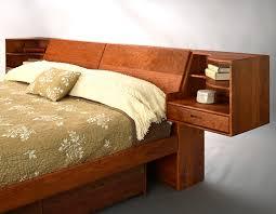 Floating Headboard With Nightstands by Platform Pedestal Bed Hardwood Artisans