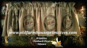 Feed Sack Curtains Primitive Feedsack Look Lined Valance Reindeer Feed Sack Shower