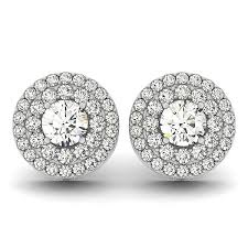 white earrings market 14k white gold halo diamond earrings 1