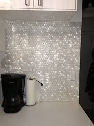 Penny Tile Kitchen Backsplash by Mother Of Pearl Penny Round Tile Backsplash Dream Kitchen