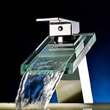 Bathroom Vessel Sink Faucets by Sprinkle Widespread Waterfall Bathroom Sink Faucet With Glass