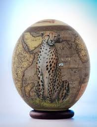 painted ostrich egg decoupage cheetah ostrich egg a beautifully rendered cheetah