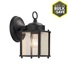Lowes Porch Lights by Shop Portfolio 8 25 In H Black Outdoor Wall Light At Lowes Com