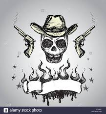 skull ribbon cowboy skull with revolvers and ribbon for text drawing