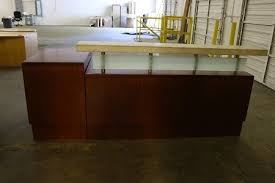 Stone Reception Desk Cherry Reception Station With Stone Transaction Top Atlanta