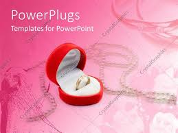powerpoint template love theme with gold engagement ring in heart