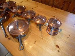 batterie de cuisine cuivre batterie cuisine cuivre état de neuf casseroles poêles