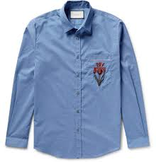 gucci slim fit embroidered muslin shirt