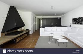 seating facing wood burning fireplace in modern apartment
