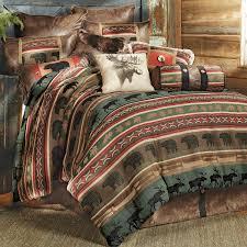 Blackforest Decor Rustic Bedding King Size Yukon River Bear U0026 Moose Bed Set Black