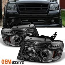 05 ford f150 headlights 2004 2008 ford f150 smoked dual halo led projector headlights left