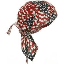 American Flag Skull American Flag Patriotic Headwrap Patch Doo Rag Durag Skull Cap