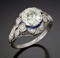 rare art deco 1930s ring with original old asscher cut diamond