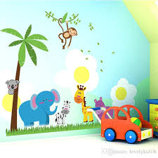 coconut tree elephant monkey giraffe wall stickers cartoon animal