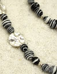 black natural stone necklace images Black white botswana agate sterling silver natural stone jpg