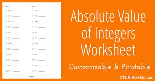 absolute value of integers worksheet stem sheets