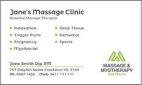 Sports Massage Business Cards Natural Therapy Associations Massage U0026 Myotherapy Australia