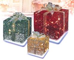 pre lit christmas gift boxes 3 glittery green gold gift box lighted christmas yard