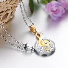 couple necklace key images Wholesale gemstone puzzle couple necklace set musical note jpg