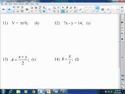 algebra i u0026 ii solving literal equations youtube