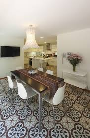 architecture minimalist dining room with patterned carpet and