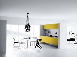 incredible modern white kitchen decor with yellow kitchen cabinets