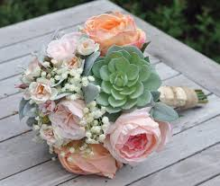 silk flower bouquets and pink cabbage roses succulents baby breath silk flower