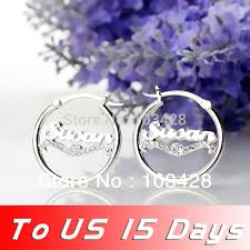 Name Earrings Aliexpress Com Buy Freeshipping Sterling Silver Stone Cut Name