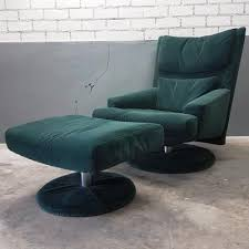 Swivel Chair And Ottoman Green Velvet Swivel Chair With Ottoman From Rolf 1980s For