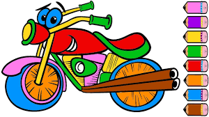 motorcycle coloring page for kids how to draw motorcycle learn