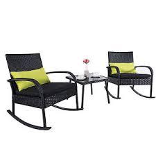 Rattan Bistro Table 3 Rocking Chair Set Wicker Rattan Bistro Furniture W Glass