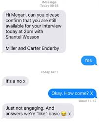 miller and carter turned down interviewee with a text daily mail
